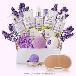 Spa Gift Baskets for Women Lavender Bath and Body At Home Spa Kit Mothers Day Spa Gifts Ideas &# ...