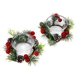 OYATON Christmas Votive Candle Holders with Snowy Pinecone Berry Candle Ring, Decorative Glass T ...