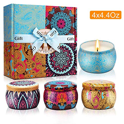 Scented Candles, 4 Pack Natural Fragrance Soy Wax Aromatherapy Jar Candle Gift Set for Stress Re ...