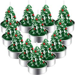 12 Pieces Christmas Tealight Candles Handmade Delicate Santas Snowman Acorn Tree Candles for Chr ...
