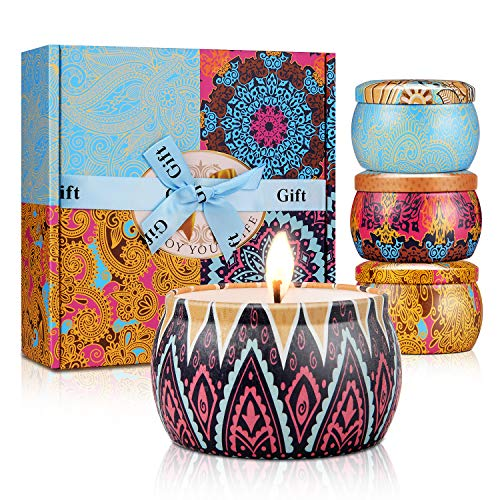 Scented Candles, Natural Soy Wax Aromatherapy Candle Smokeless Set with Reusable Travel Tin, Wom ...