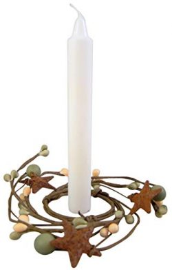 Candle Wreaths Rustic Artificial Green and White Berry Ring with Stars, 4 Inch, Pack of 3