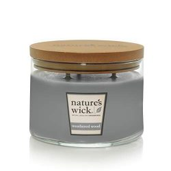 Nature's Wick Weathered Woods Scented Candle|18 oz. 3 Wick Jarred Candle|Natural Wood Wick ...