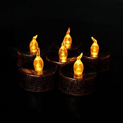 Flameless LED Tea Lights 12 PCS, Tea Light Black anf Brown LED Candles for Halloween Christmas T ...