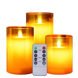 ACROSS Flickering Flameless Candles with Glass Holder, Set of 3(H4″5″6″xD3R ...