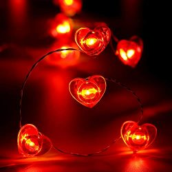 Frienda Valentine's Day String Lights Red Heart Shape Fairy Lights for Wedding Anniversary ...