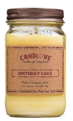 "CANDLOVE ""Birthday Cake Scented 16oz Mason Jar Candle 100% Soy Made in The USA"