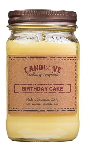 """CANDLOVE """"Birthday Cake Scented 16oz Mason Jar Candle 100% Soy Made in The USA"""