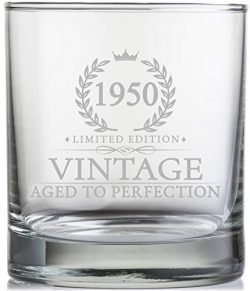 70th Birthday Gifts for Men Turning 70 Years Old – 11 oz. Vintage 1950 Whiskey Glass ̵ ...