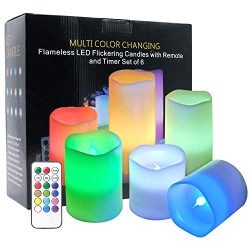 DRomance Color Changing Candles with Remote Set of 6 Battery Operated LED Lights, Real Wax Flame ...