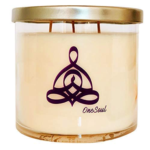 Lavender Vanilla Aromatherapy Candle with OneSoul Yoga Design | Natural Wax Hand Poured Highly S ...