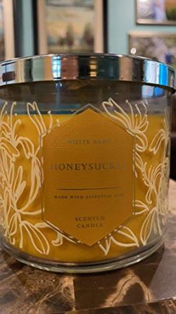 White Barn Bath and Body Works Honeysuckle 3 Wick Candle 14.5 Ounce Golden Wax 2019