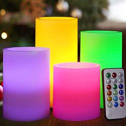 HOME MOST Set of 4 Flickering Real Wax Flameless LED Pillar Candles with Remote 3×3 3× ...