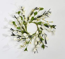 Worth Imports 3.25″ Small Flower & Berry Set of 2 Candle Ring, White,Yellow,Green