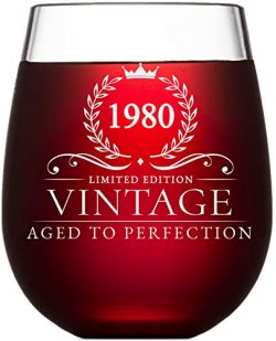 40th Birthday Gifts for Women and Men Turning 40 Years Old – 15 oz. Vintage 1980 Wine Glas ...