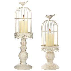 SMEL 2pcs Birdcage Candle Holders Vintage Creative Decorations Excellent Carved Iron Candlestick ...