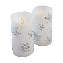 Lumabase 92102 2 Count Snowflake Battery Operated LED Candles, Silver