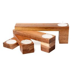 Bamboo Tea Light Candle Holder – Holds 4 Refillable Tea Lights for a Beautiful Table Cente ...
