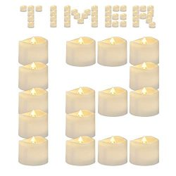 Amagic Timer Tea Lights 12 Pack, Flameless Flickering LED Tea Light Candles for Valentine' ...