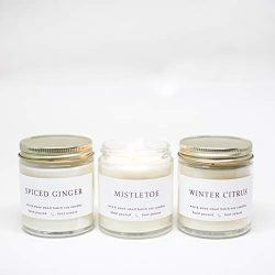 Winter Holiday Christmas Soy Candle Gift Set
