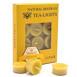 12pcs Natural Beeswax Tealight Candles – Organic Candle Natural Scent Smokeless Clean Burning