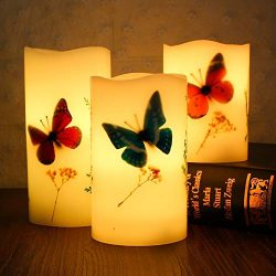Amanda Set of 3 Flameless LED Candles Color Changing Flicker,Light Mode Option Real Handmade But ...