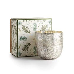 Illume Noble Holiday Collection Balsam & Cedar Luxe Box Sanded Mercury Glass Candle, 22 oz