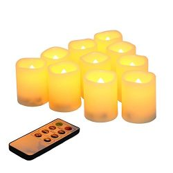 Flameless Votive Candles with Remote Control and Timer Bulk Set of 10 Tealight Candles/Realistic ...