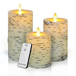 Flameless LED Candles,Yinuo Candle Flickering Birch Unscented Pillar 100 Hours Moving Flame 4 ...