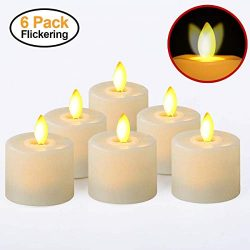 Battery Operated Led Tea Lights Small Fake Votive Candles with Moving Flame Outdoor Flickering F ...