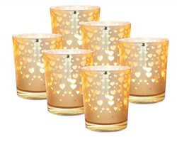 Ivory Hive Votive Candle Tealight Holders Set – 6 Mercury Glass Votives for Valentines Day ...