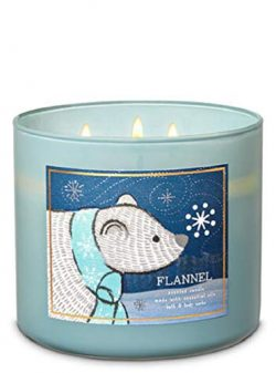 Bath Body Works 3 Wick Candle Flannel (Polar Bear)