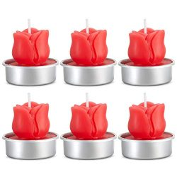 COCOMOON Romantic Rose Tealight Candles,Valentine's Day Party Gifts,6 Pieces Handmade Deli ...