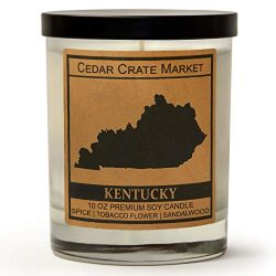Kentucky Kraft Label Scented Soy Candle, Spice, Tobacco Flower, Sandalwood, 10 Oz. Glass Jar Can ...