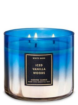 White Barn Bath and Body Works Iced Vanilla Woods 3 Wick Candle 14.5 Ounce Winter 2019 Blue Prog ...
