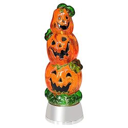 Eldnacele Halloween Pumpkin Light Snow Globe Lighted Lamp with 6H Timer, Battery Operated Spinni ...