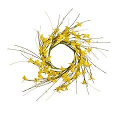 Worth Imports 4.25″ FORSYTHIA Set of 2 Candle Ring, Yellow,Brown