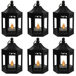 Vela Lanterns Mini Candle Lantern with Flickering LED Tea Light Candle, Batteries Included, Blac ...