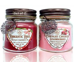 Way Out West Candles Romantic Gift Pack- Valentines Jar Candles Scented Set of 2 – Soy Wax ...