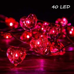 Valentines Day Decorations Lights, Lauva Love Theme Red Heart Fairy Lights Battery Operated 10ft ...