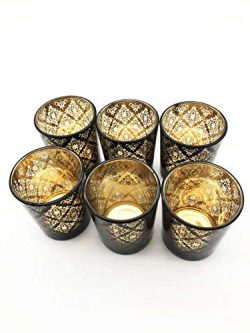 LING-EU Black Color Decorative Pattern Glass Votive Candle Holder Tealight Candle Holders for We ...