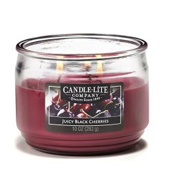 Candle-lite Everyday Scented Juicy Black Cherries 3-Wick 10oz Medium Glass Jar Candle, Fruit Ber ...
