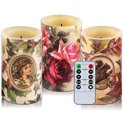 HITHYS Flameless Flickering LED Candles Set of 3,  Diameter 3″ X 5″ Tall with 10-Key ...