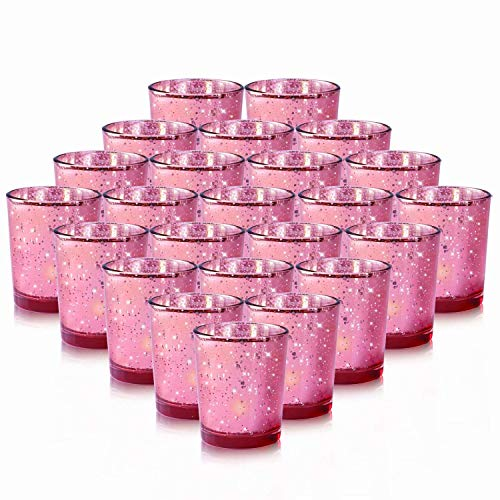 24-Pack Rose Gold Votive Candle Holders Bulk, Speckled Mercury Tealight Candle Holders Perfect C ...
