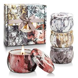 Scented Candles Valentine's Day Gift Aromatherapy Fragrance Jar Candle Set for Women Trave ...