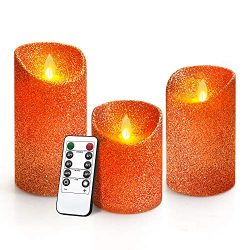 Y YUEGANG Flameless LED Candles, 5″ 6″ 7″ Pack of 3 Battery Operated Realistic ...