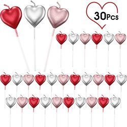 BBTO Metallic Heart Candles Cake Candles Cupcake Topper Candles Dessert Candle Holders for Birth ...