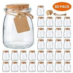 Mini Yogurt Jars 30 Pack, 7 oz Glass Favor Jars with Cork Lids, Glass Pudding jars, Glass Contai ...