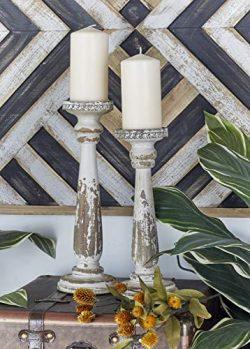 Deco 79 44410 Wood Candle Holder, Set of 2