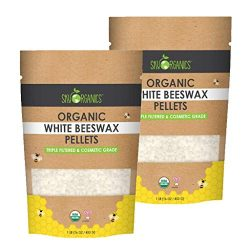 Sky Organics USDA Organic White Beeswax Pellets (2lb) Pure Bees Wax No Toxic Pesticides or Chemi ...
